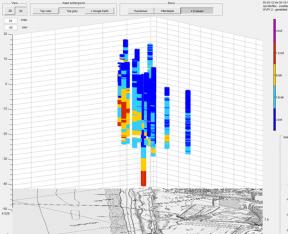 artsoll_3D weergave van geleidbaarheids sonderingen ingedeeld in zoet-zout-brak
