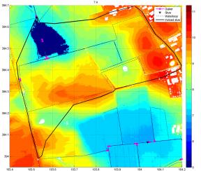 retentiegebied (blauw) binnen het invanggebied (zwarte lijn)